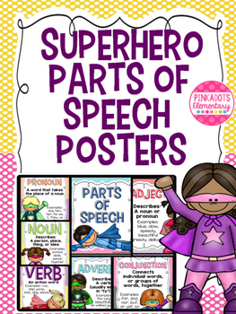 Parts of Speech Superhero Themed Bulletin Board Posters!