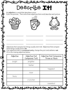 Grammar 3rd Grade - Parts of Speech Printables