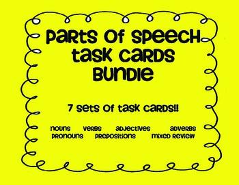 Parts of Speech TASK CARD bundle! Noun Verb Adjective Adverb Pronoun Preposition
