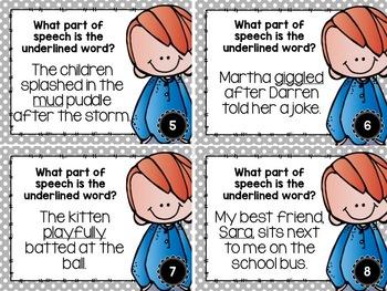 Parts of Speech Task Card Bundle- 72 Task Cards