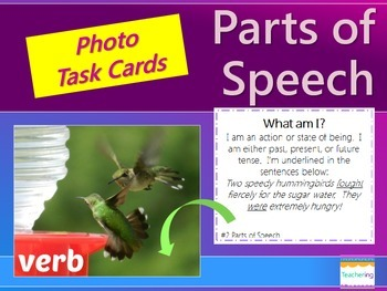 Parts of Speech Task Cards {with PHOTOS for differentiation}