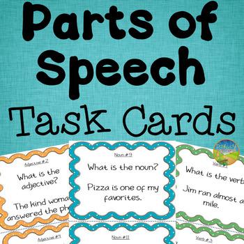 Parts of Speech Task Cards - 144 Cards! (Verbs, Nouns, Adj