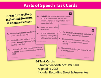 Parts of Speech Task Cards: 192 Nonfiction Sentences