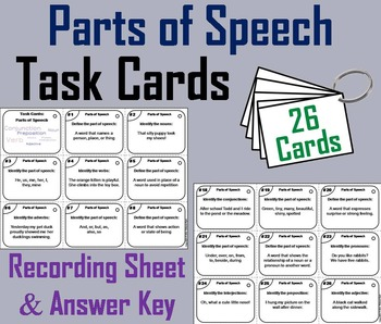 The Parts of Speech Task Cards 5th 6th 7th 8th Grade