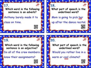 Parts of Speech Task Cards w/ QR Codes