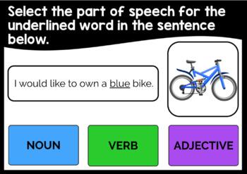 Parts of Speech Digital Task Cards Freebie - Set 1 - Boom Learning℠