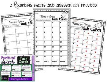 Parts of Speech Task Cards - 3rd Grade