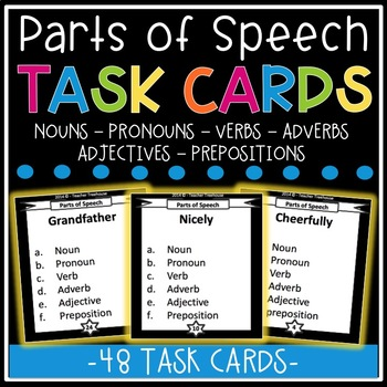 Parts of Speech Task Card Bundle - 48 Cards!