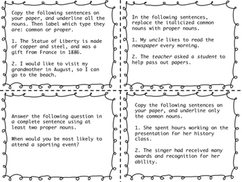 Parts of Speech Task Cards -- For Review or Just For Fun!