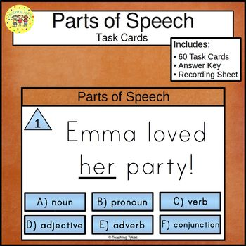 Parts of Speech Task Cards Nouns Pronouns Verbs Adjectives Adverbs Conjunctions