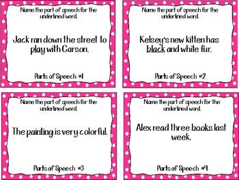 Parts of Speech Task Cards (Nouns, Verbs, & Adjectives)