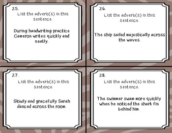 Parts of Speech Task Cards: Nouns, Verbs, Adverbs, Adjectives