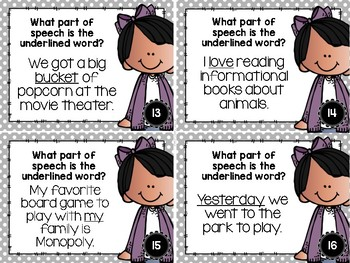 Parts of Speech Task Cards for Nouns, Verbs, Adjectives, Pronouns, Adverbs