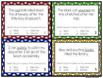Parts of Speech Task Cards: Nouns, Verbs, Adjectives, and Adverbs