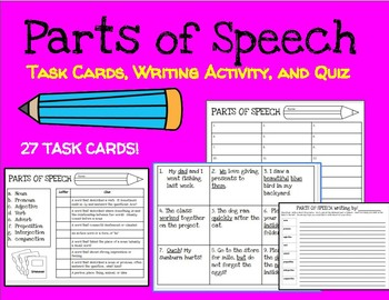 Parts of Speech: Task Cards, Quiz, and Writing Activity