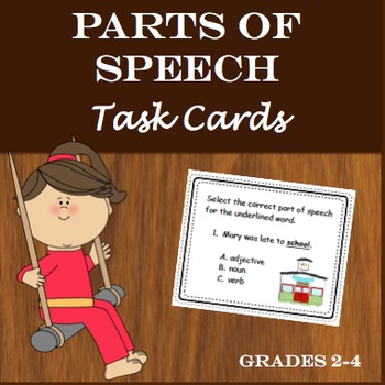 Parts of Speech Task Cards + Review Worksheet (2nd - 4th)