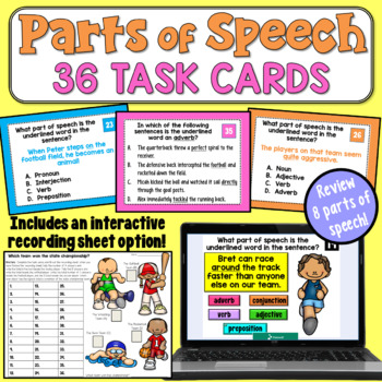 Parts of Speech Task Cards (Advanced) with Digital Option