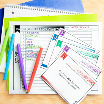 Parts of Speech Task Cards for Secondary ELA (80 Task Cards)
