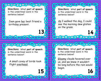 Parts of Speech Task Cards with Bonus Mystery Picture