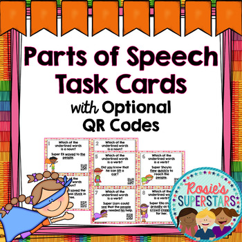Parts of Speech Task Cards with Optional QR Codes