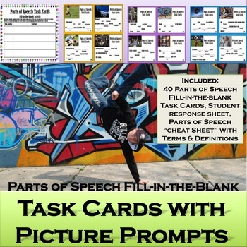 Parts of Speech Task Cards with Picture Prompts: Centers, Stations, Assessment