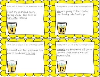 Parts of Speech Task Cards with and without QR Codes {L.3.1.A}