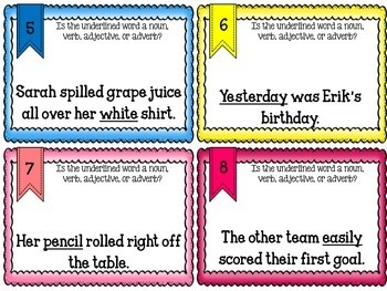 Parts of Speech Task Cards/Scoot Game