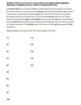 Parts of Speech Test