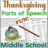 Parts of Speech Thanksgiving