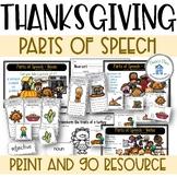 Parts of Speech Thanksgiving Theme Nouns Verbs Adjectives