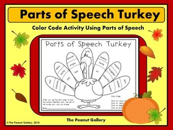 FREE Parts of Speech Turkey (Color Code Activity)