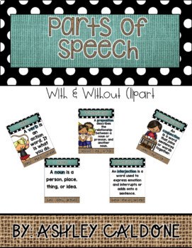 Parts of Speech- Turquoise, Burlap, and Dots