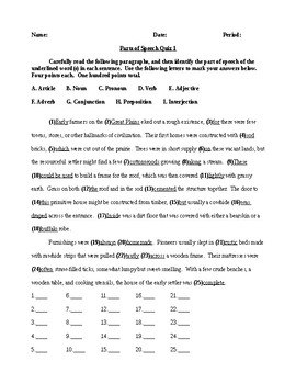 Parts of Speech - Two Quizzes - CCSS Aligned