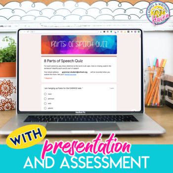 Parts of Speech Unit Bundle with Presentation, Stations, Game, and Assessment