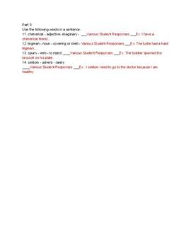 Parts of Speech Usage Quiz - Sentence Writing - Vocab