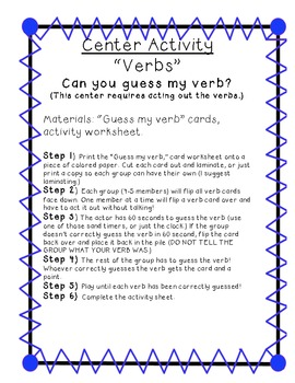 Parts of Speech: VERB PACK