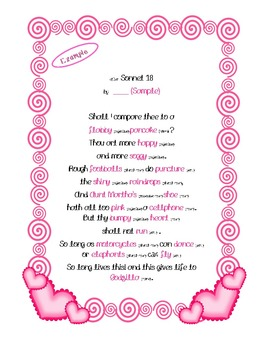Parts of Speech Valentine Sonnet Fill-in-the-Blanks (compare to Mad Libs)