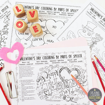 Valentine's Day Grammar, No Prep Coloring for Teens