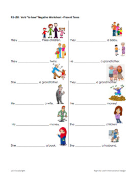 """Parts of Speech: Verb """"To Have"""" ESL Lesson Plan"""