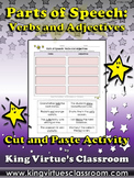 Parts of Speech: Verbs and Adjectives Cut and Paste Activity - King Virtue