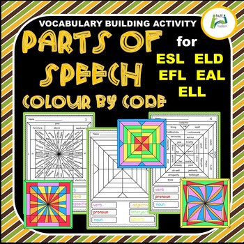 Parts of Speech & Vocabulary Color by Code for ESL / ELD / EFL / EAL