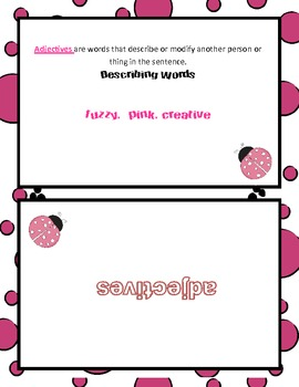 Parts of Speech Vocabulary Flash Cards  CCSS.ELA-Literacy.L.4.1