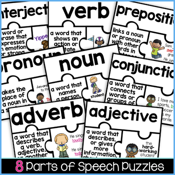 Parts of Speech Vocabulary Puzzles   Grammar Activity   Parts of Speech Activity