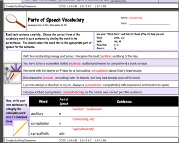 Parts of Speech Vocabulary (in To Kill a Mockingbird)