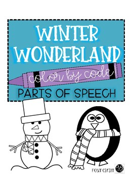 Parts of Speech Winter Wonderland Coloring Fun!