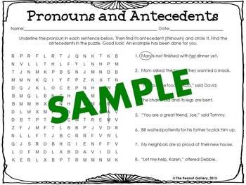 Parts of Speech Word Searches: Set 3- Pronouns