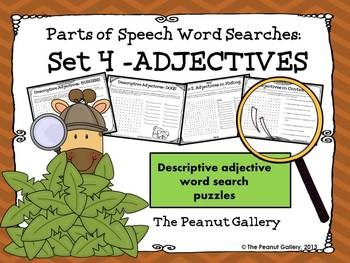 Parts of Speech Word Searches: Set 4- Adjectives