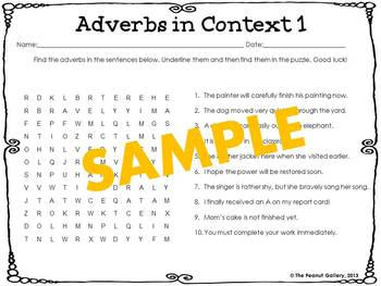 Parts of Speech Word Searches: Set 5- Adverbs