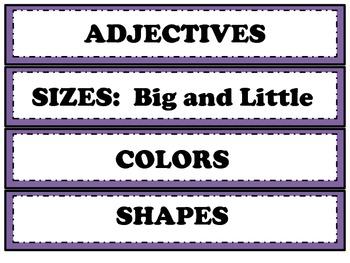 Parts of Speech Word Sort Sample Word Choice Activity