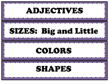 Parts of Speech Word Sort Word Choice Activity